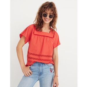 Madewell Angelica Eyelet Peasant Top Blouse NWT